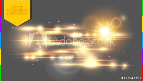 500x284 Vector Golden Special Effect. Glowing Streaks On Transparent