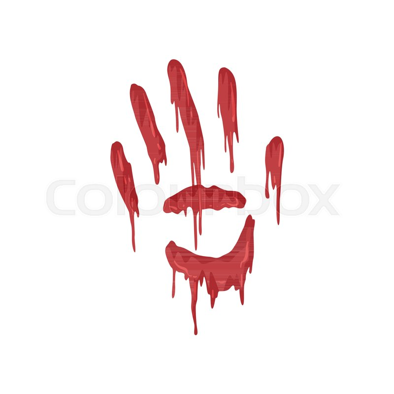 800x800 Bloody Handprint With Streaks Vector Illustration Isolated On A