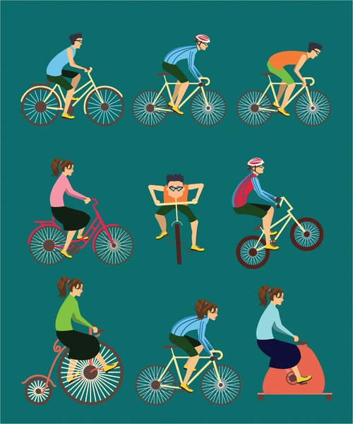 500x600 Exercise Vector Illustration With Various Cycle Styles Free Vector