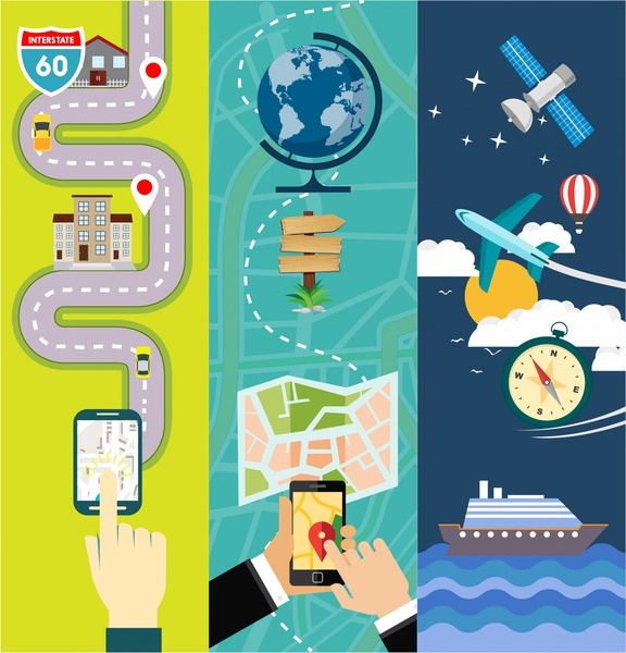 576x600 Global Location Application Vector Illustration In Various Styles