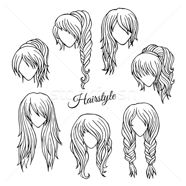 600x600 Hair Styles Sketch Vector Set Vector Illustration Olga Kostenko