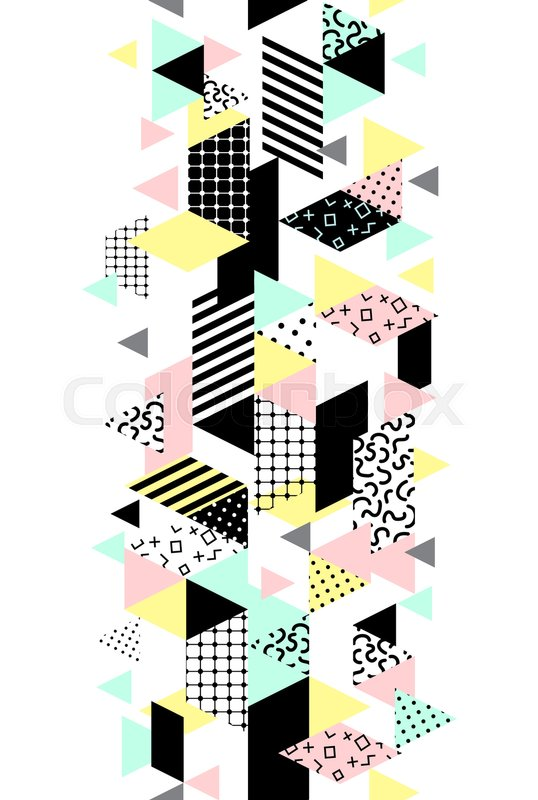 538x800 Memphis Verical Seamless Border With Geometric Shapes. Abstract