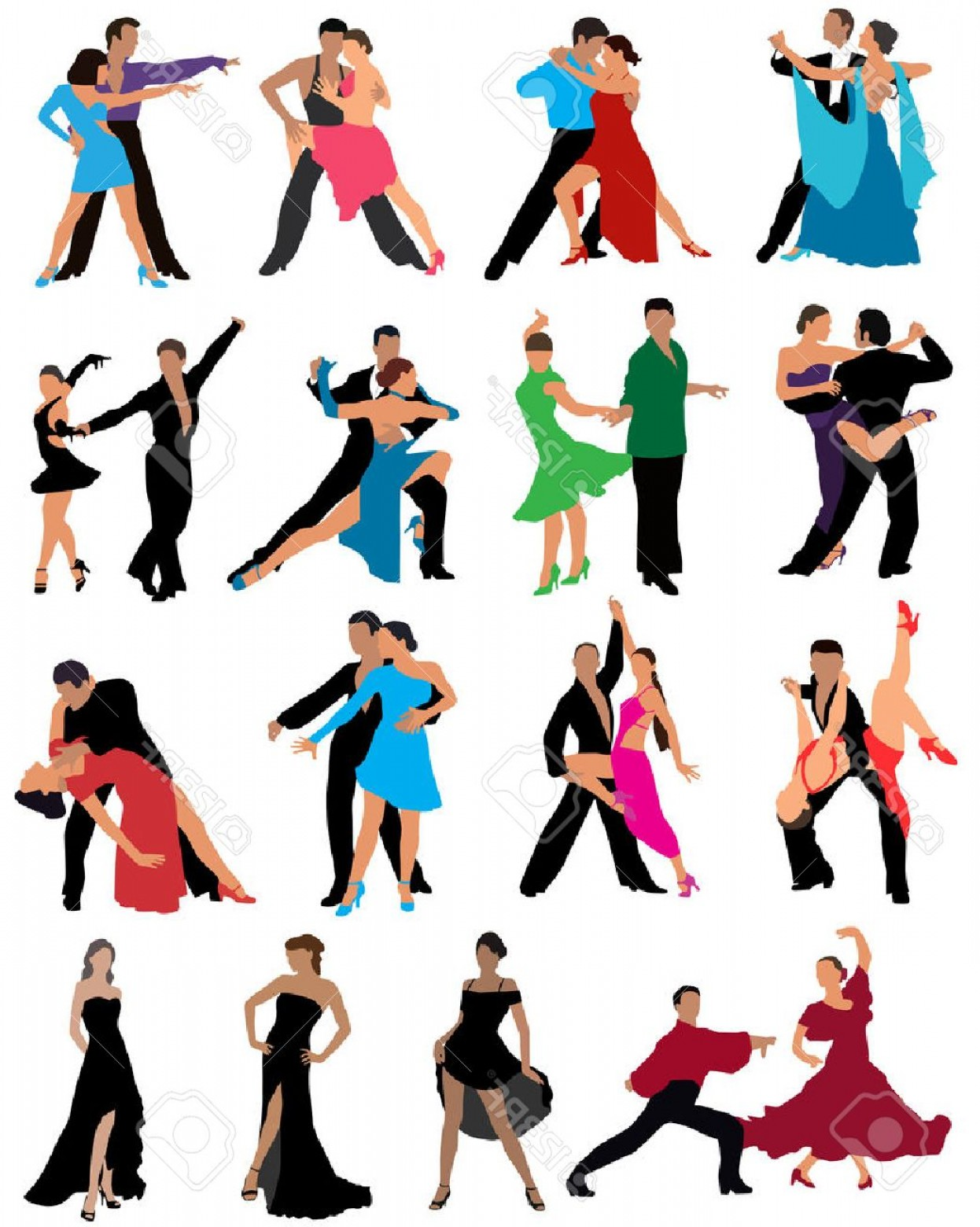 1246x1560 Photostock Vector Dancing Couples Different Styles Of Dance Color