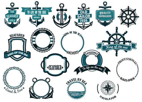 500x357 Retro Styles Nautical Labels Vector Material 03 Free Download
