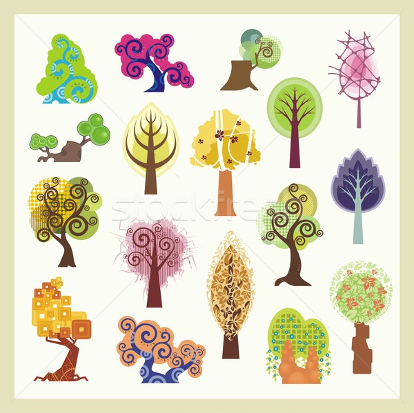 600x599 Vector Set Of Tree Illustrations In Various Styles. Vector