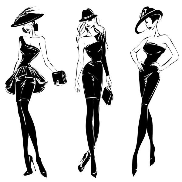 600x600 Woman Fashion Styles Illustration Vector Material 06