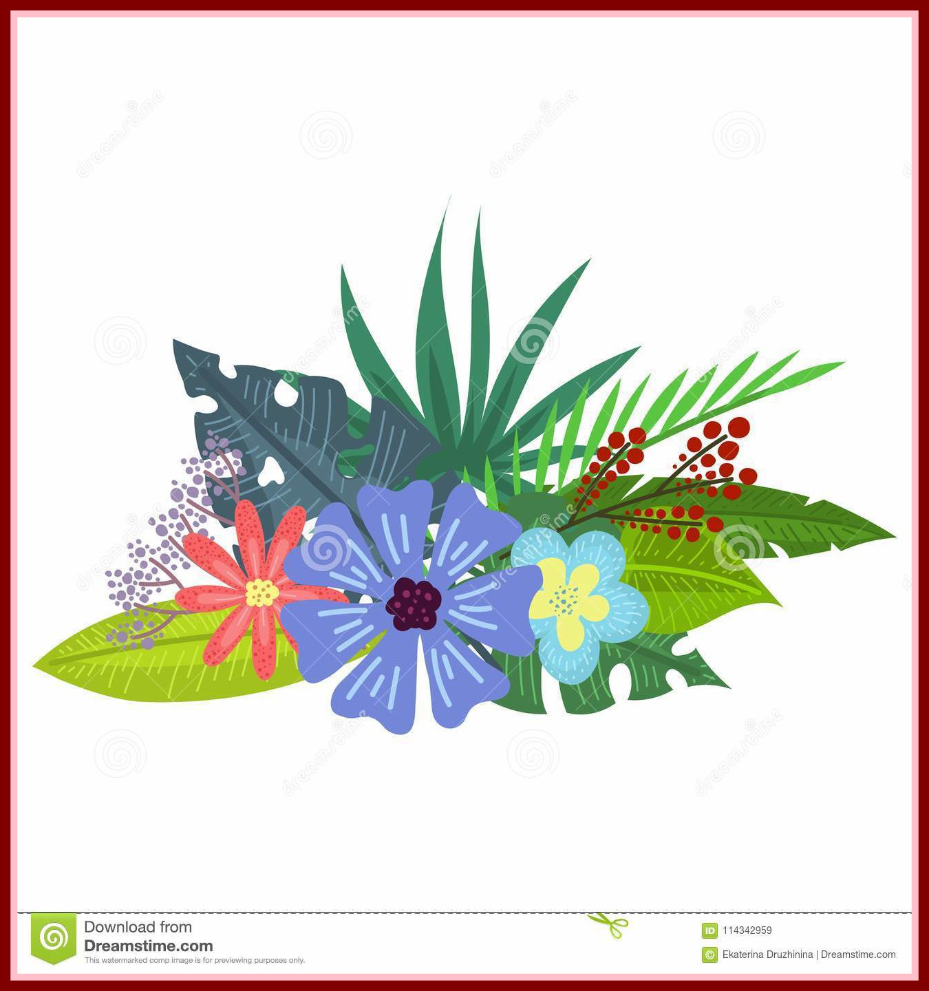 1350x1440 Appealing Tropical Bouquet Stock Vector Illustration Of Hawaii