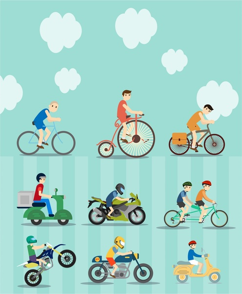 495x600 Bikes And Motorcycles Vector Illustration With Various Styles Free