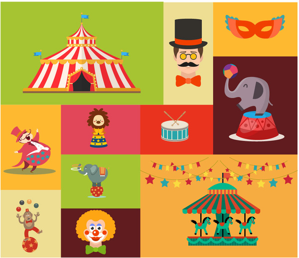 600x518 Circus Design Elements With Various Styles Illustration Free