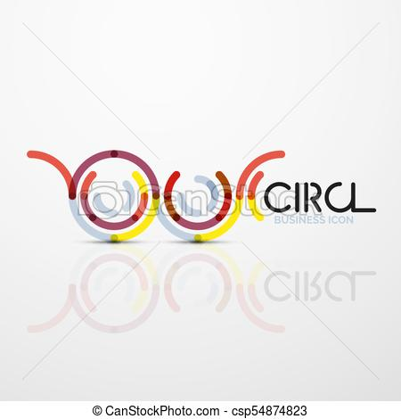 450x470 Abstract Swirl Lines Symbol, Circle Logo Icon. Vector... Vector
