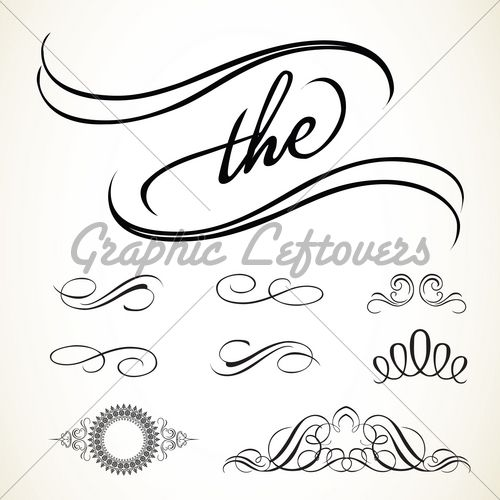 500x500 Set Of Vector Swirl Ornaments. Easy To Edit And... Adobe