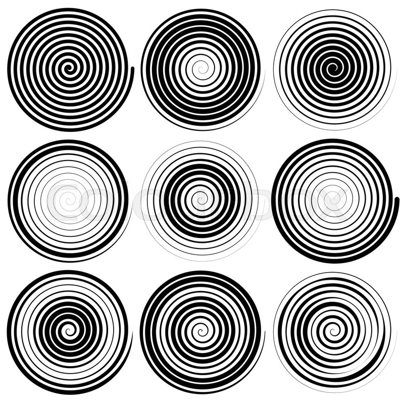 800x800 Set Of 9 Spiral Elements. Swirls, Swooshes. Stock Vector Colourbox