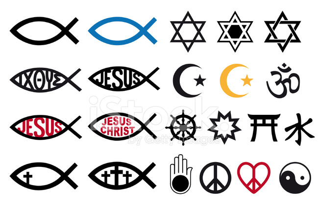 649x440 Religious Symbols, Religion Signs, Vector Set Stock Vector