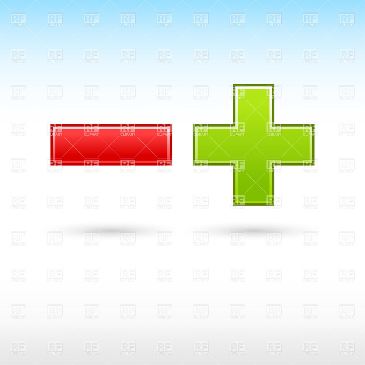 1200x1200 Green Plus And Red Minus Math Symbols Vector Image Vector