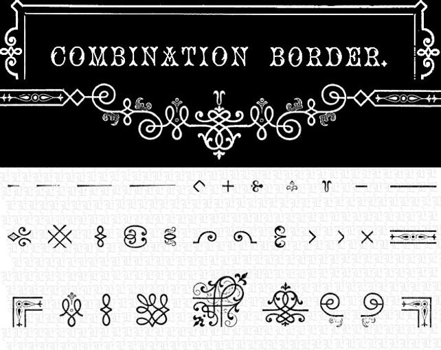 642x510 Antique Combination Borders Flourish Ornaments Vintage Vector Etsy