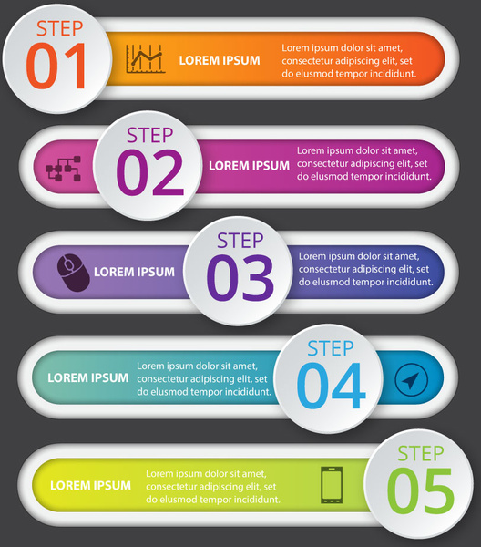 528x600 Infographic Vector Design With Horizontal Tab And Circles Free
