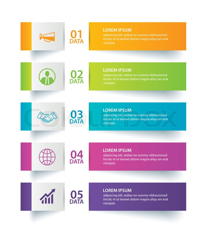 702x800 Infographics Tab In Horizontal Paper Index With 5 Data Template