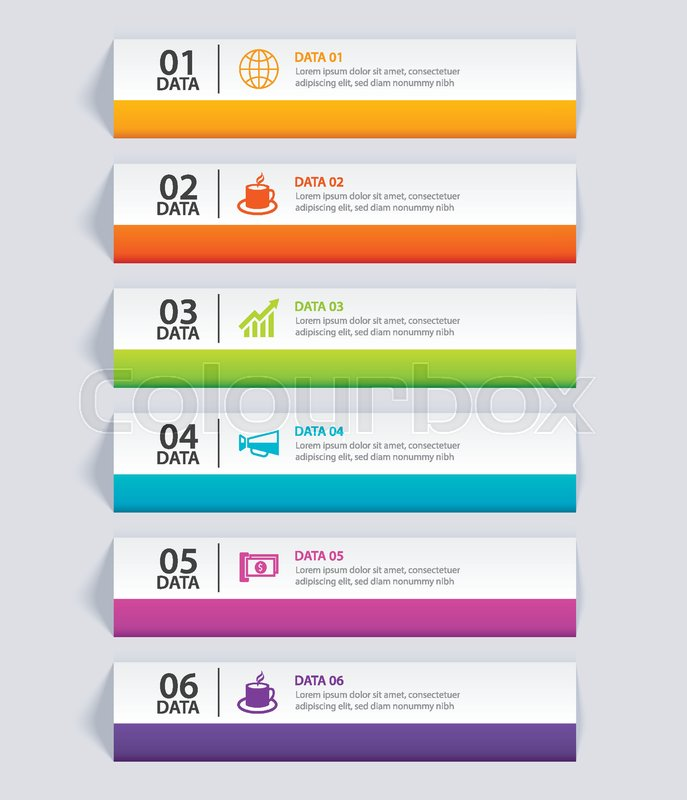 687x800 Infographics Tab In Horizontal Paper Index With 6 Data Template