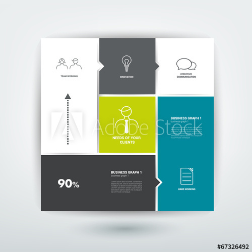 500x500 Square Template Diagram. Flat Vector Tab.