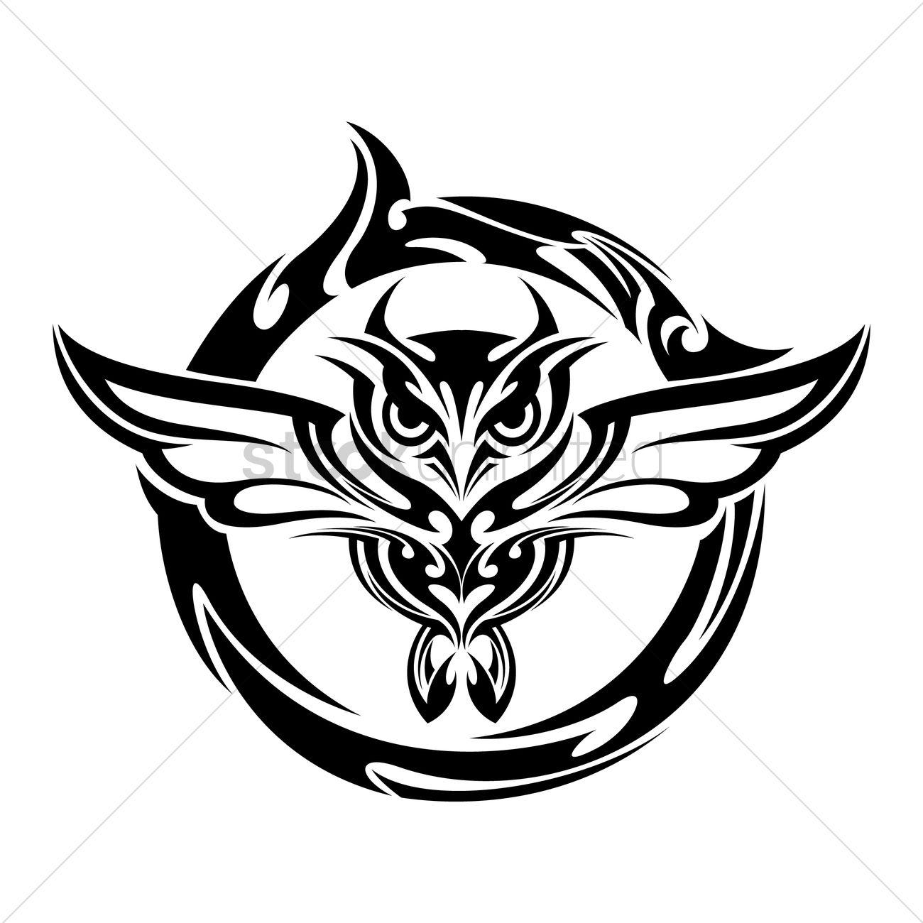 1300x1300 Owl Tattoo Vector Image