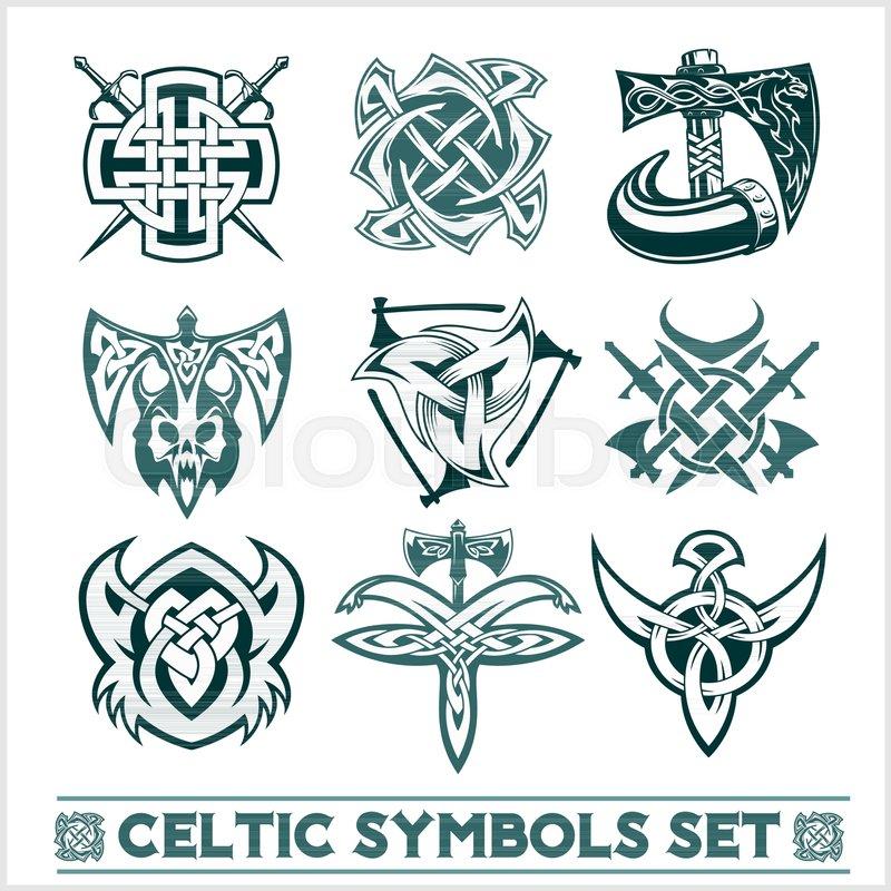 800x800 Set Of Celtic Symbols Icons Vector. Tattoo Design Set On White