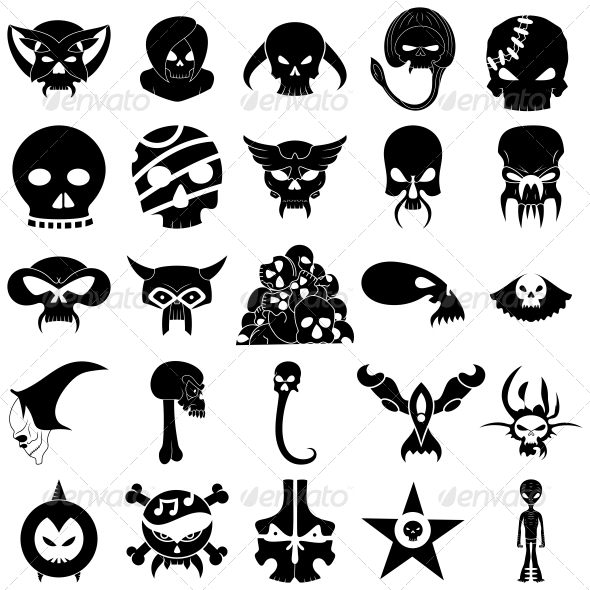 590x590 Skull Tattoo Designs Vector Pack By Vecras Graphicriver