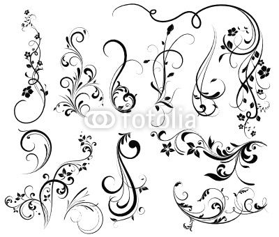 400x340 Swirl Tattoo Designs For Girls Floral Silhouette, Element For