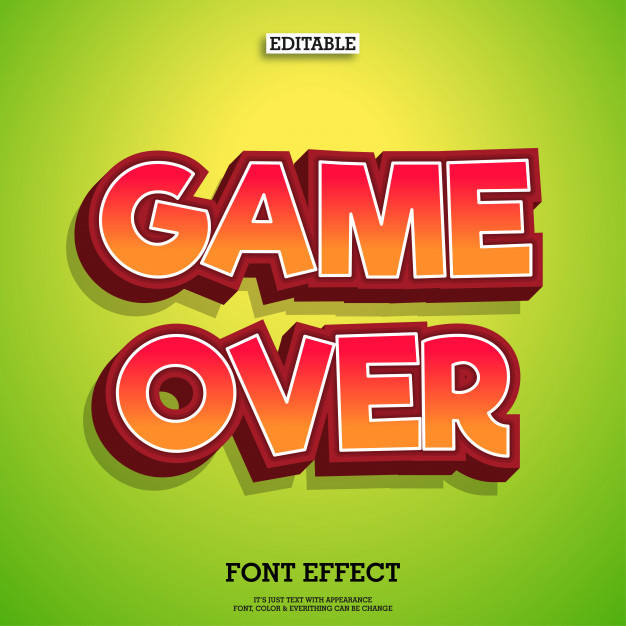626x626 3d Typeface Game Logo Tittle Text Effect Vector Premium Download