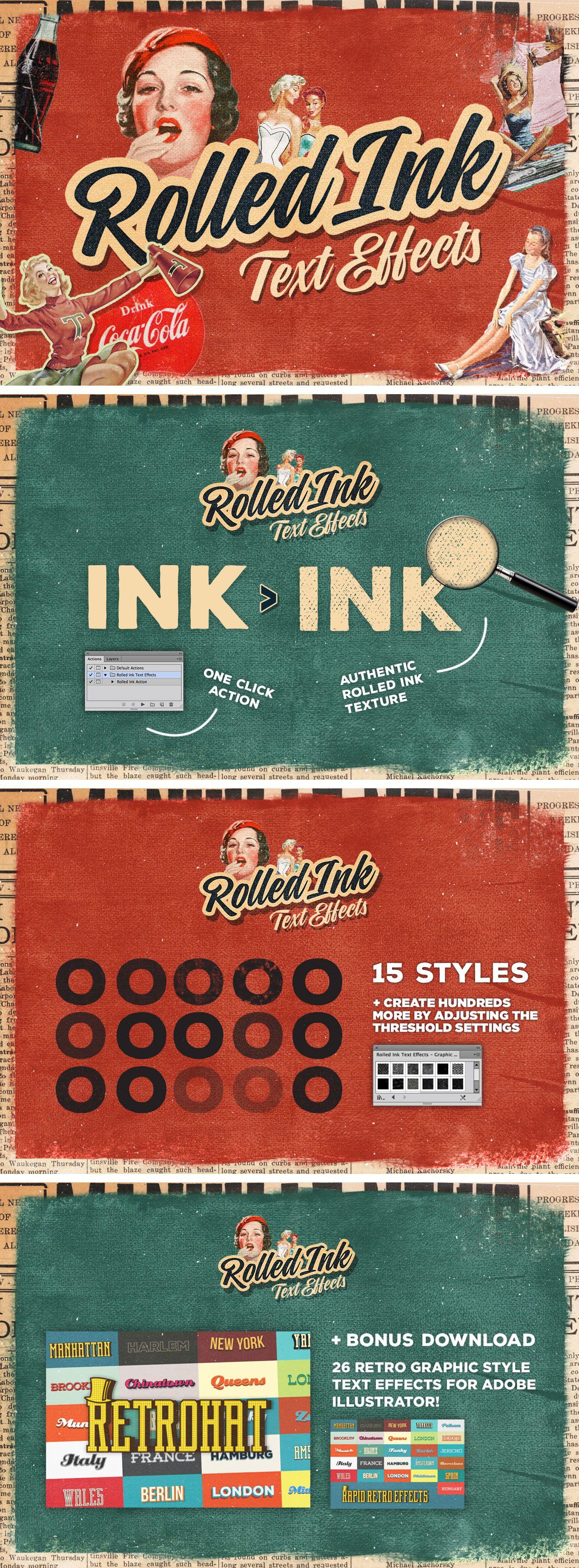 1360x3684 Retro Ink Vector Text Effect Free Download Graphics, Vectors