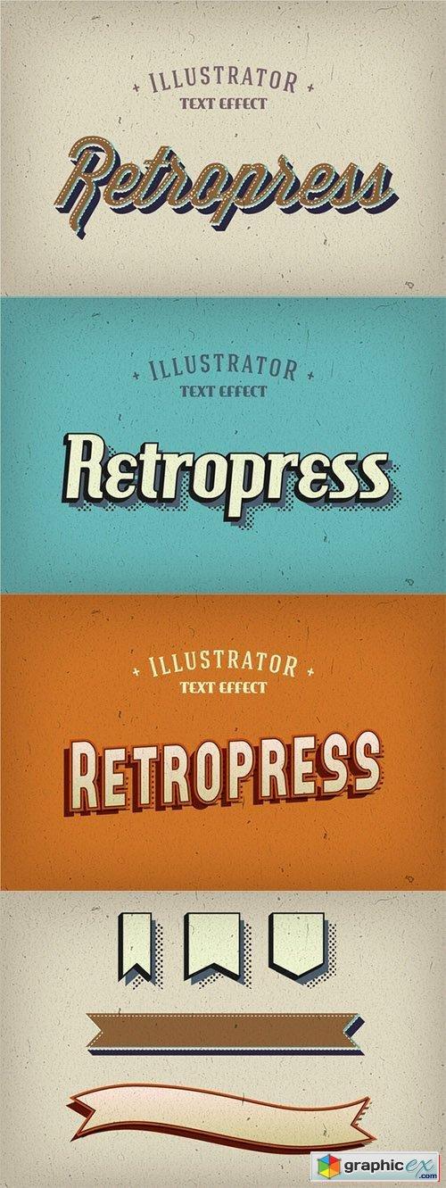 500x1331 Retropress Illustrator Text Effects Free Download Vector Stock