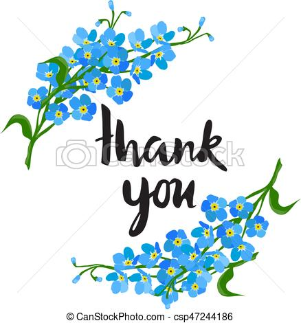 438x470 Thank You Card. Vector Thank You Card With Flowers.