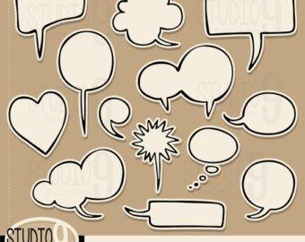 340x270 Thought Bubble Clip Art Comic Cartoon Bubble Clipart Thought Etsy