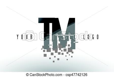450x305 Tm T M Pixel Letter Logo With Digital Shattered Black Squares