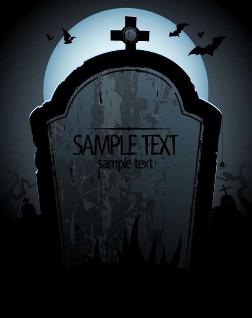495x626 Halloween Grave Tombstone Card With Blue Moon And Bats Download