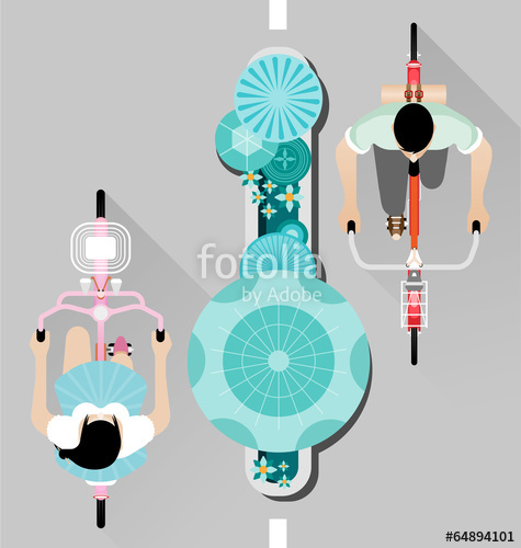 475x500 People Riding A Bicycle On Street Top View Vector Stock Image And