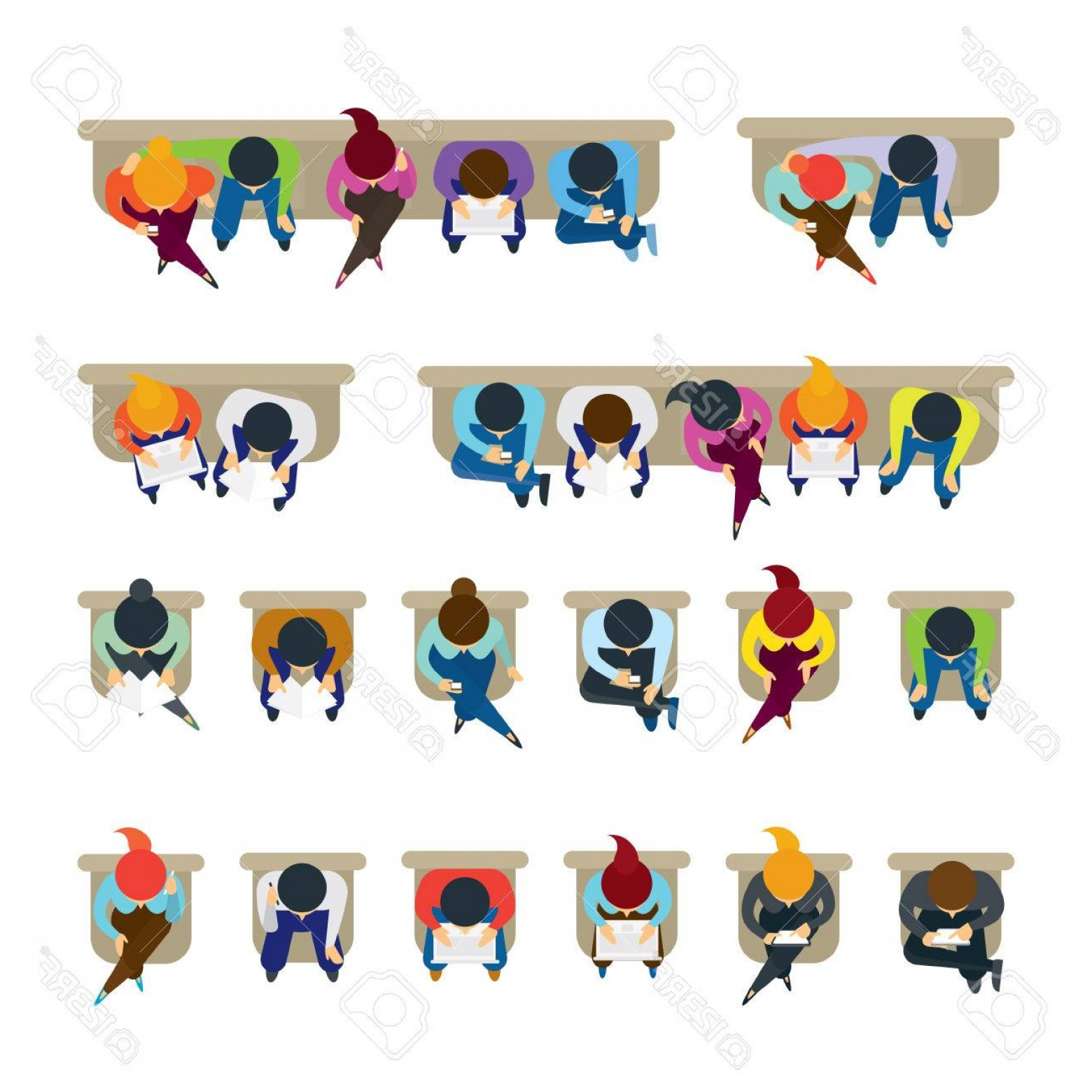 1560x1560 Photostock Vector People Sitting On Chairs Top Or Above View Men