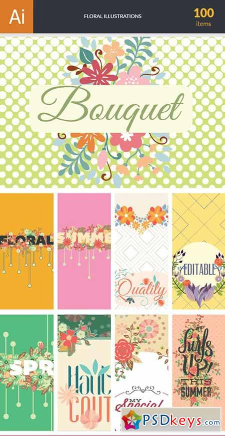 450x870 Floral Vector Bundle 100xeps Free Download Photoshop Vector