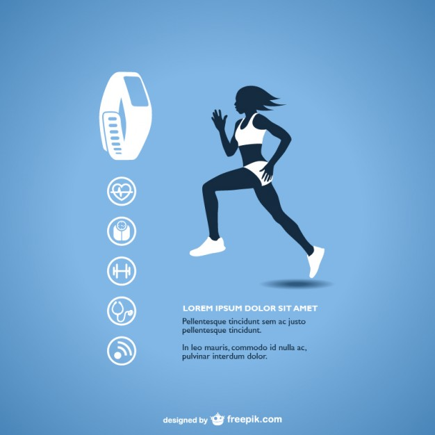 626x626 Fitness Tracker With Runner Silhouette Vector Free Download