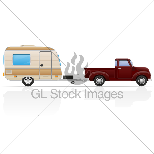 500x500 Old Retro Car Pickup With Trailer Vector Illustration Gl Stock