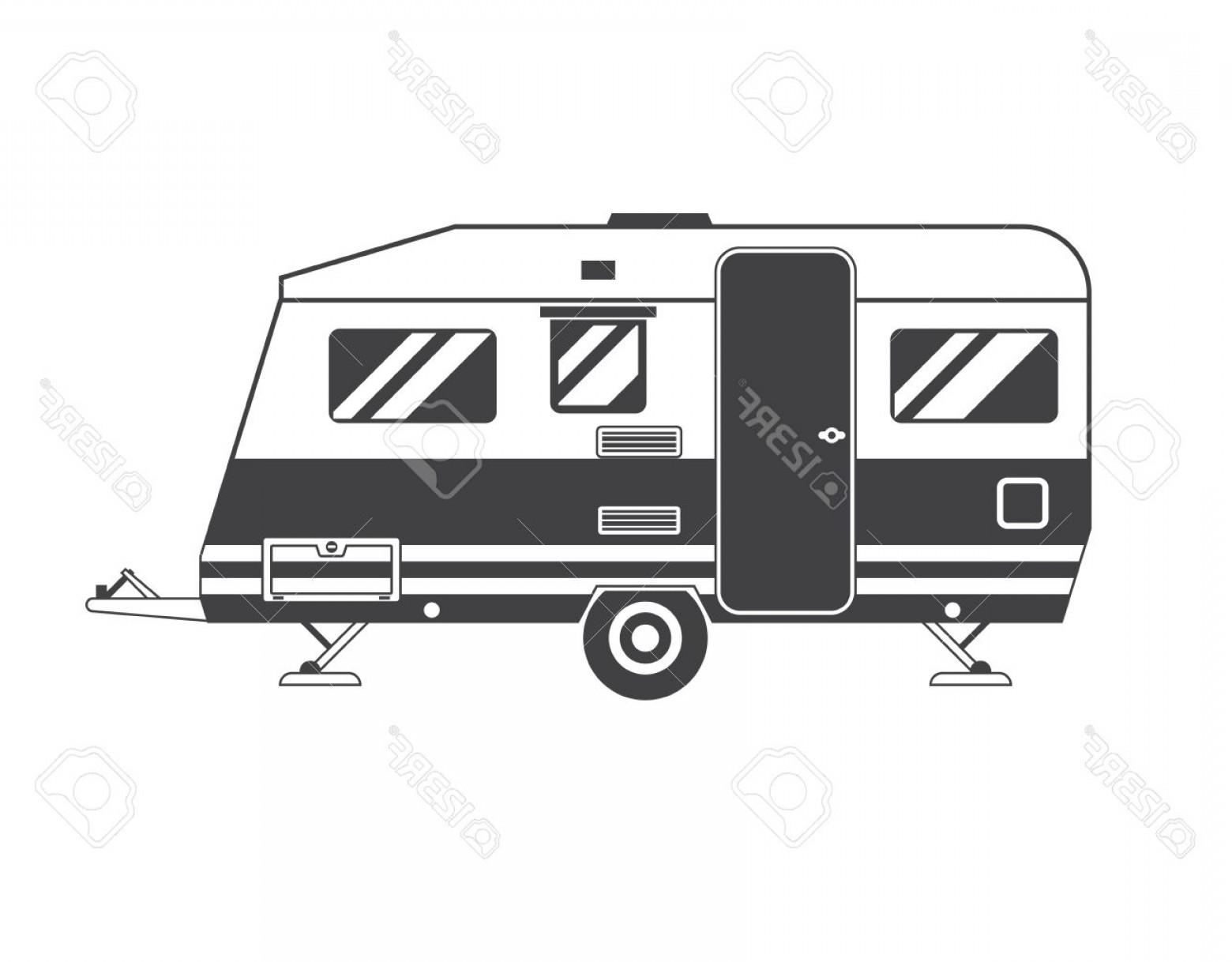 1560x1218 Photostock Vector Camping Trailer Family Caravan Traveler Truck
