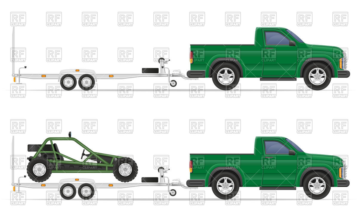 1200x721 Car Pickup With Trailer Vector Image Vector Artwork Of