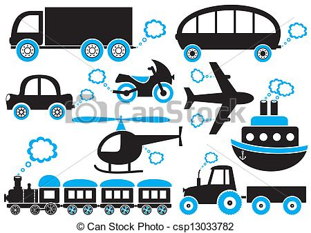 450x338 Transport Icons. Black And Blue Means Of Transport Icons. Easy To