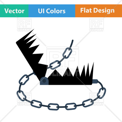 400x400 Flat Design Icon Of Bear Hunting Trap Vector Image Vector