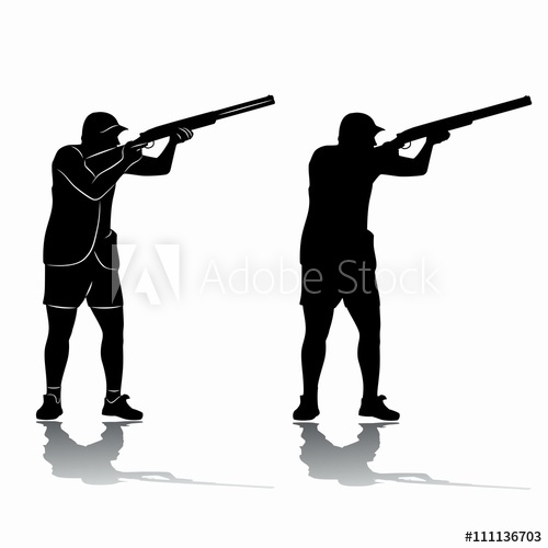 500x500 Silhouette Trap Shooter. Vector Drawing