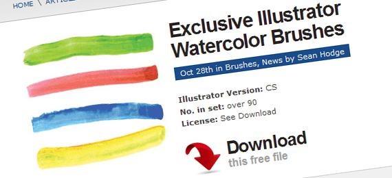 570x260 Vectortuts Freebie Exclusive Illustrator Watercolor Brushes