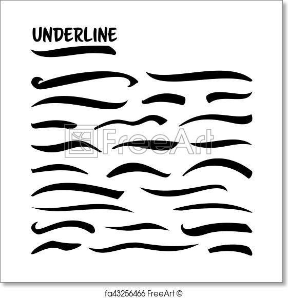 561x581 Free Art Print Of Underline Vector Set. Handmade Black Lines