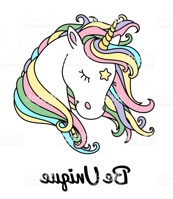 1069x1228 Unicorn Vector Head With Rainbow Hair And Inscription Be Unique Gm