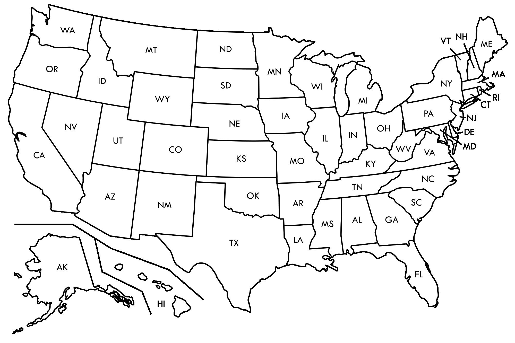 2000x1333 Us Map Vector Black And White Us Map White Background 51846552