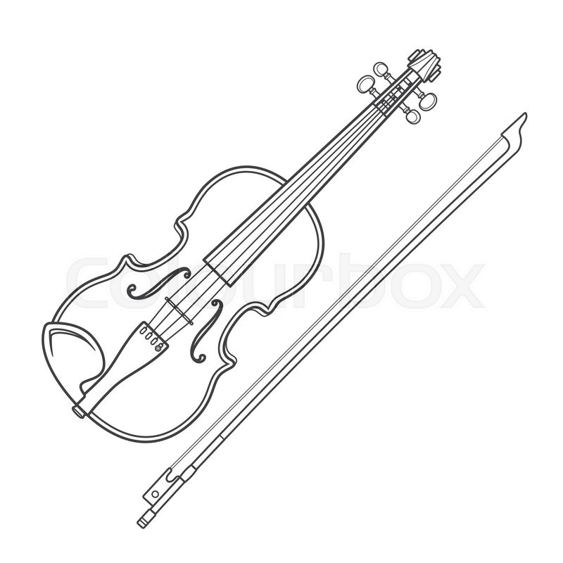 800x800 Vector Grey Outline Vector Violin Fiddle Bow On White Background