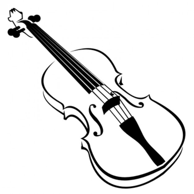 626x626 Violin Illustration In Black And White Vector Free Download